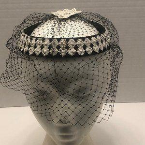 Vintage Black Button Style Hat